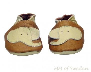 MM of Sweden barn mockasiner, brun med elefant, MM700