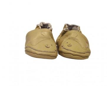 MM of Sweden barn mockasiner i italiensk läder, beige med valfisk, MM300