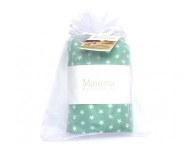 MAMMA Värmekudde™, innerkudde beige, 4 - fackindelning, överdrag mintgrön med vita stjärnor