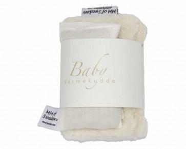 Värmekudde BABY, beige & ekologisk Teddy tyg, komplett
