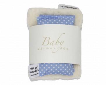 Värmekudde BABY, ljusblå med vita prickar & ekologisk Teddy tyg