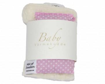 Värmekudde BABY, rosa med vita prickar & ekologisk Teddy tyg