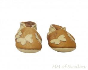 MM of Sweden barn mockasiner i italiensk läder, brun med fjäril, MM600