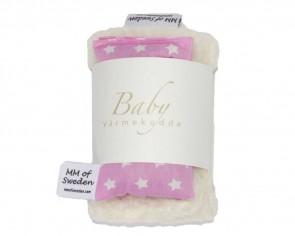 Värmekudde BABY, rosa med vita stjärnor & ekologisk Teddy tyg