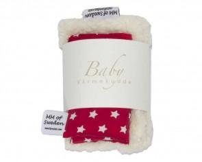 Värmekudde BABY, röd med vita stjärnor & ekologisk Teddy tyg