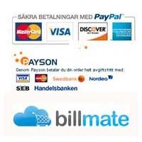 Hos oss betalar du Paypal, Payson eller Billmate
